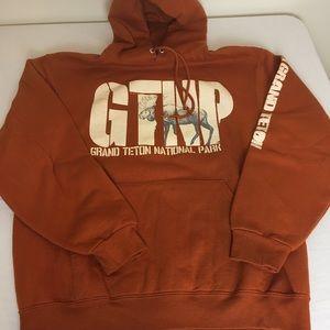 Hooded sweatshirt, rust color, size Lg